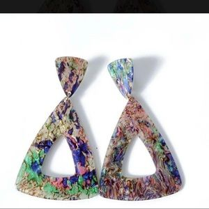 Triangle mixed color Bohemia style stud earring